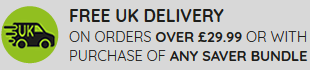 Free UK delivery on orders over £29.99 or with purchase of any saver bundle