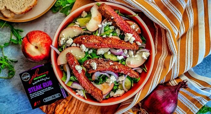 Balsamic Steak & Peach Salad Recipe made with JD Seasonings