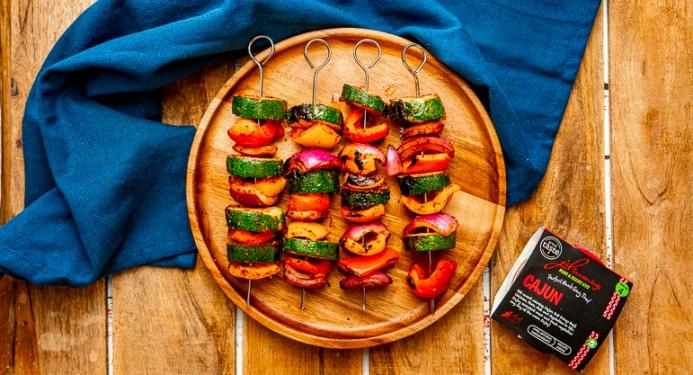 Cajun Rainbow Veggie Skewers Recipe made with JD Seasonings