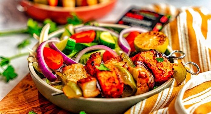 Cajun Salmon & Halloumi Skewers Recipe made with JD Seasonings