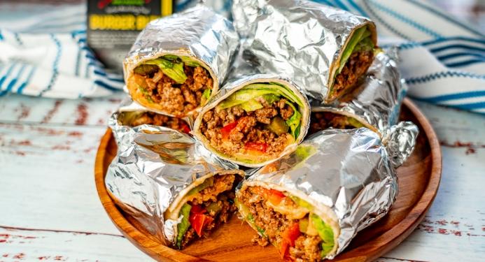 Cheeseburger Burritos Recipe made with JD Seasonings