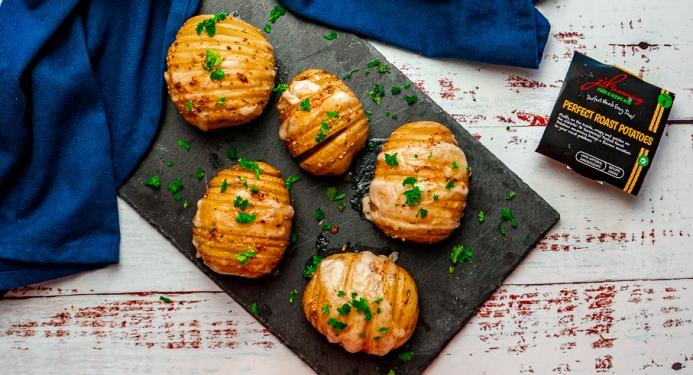 Cheesy Garlic Hasselback Potatoes Recipe made with JD Seasonings