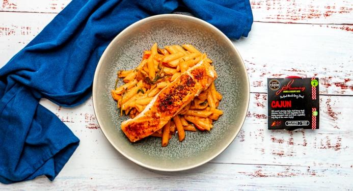 Creamy Cajun Salmon Pasta Recipe made with JD Seasonings