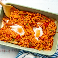 Egg, Chips & Beans Bake