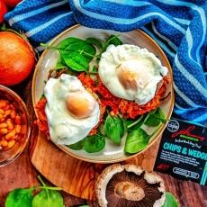 Hash Brown, Portobello & Poached Egg Stacks