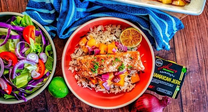 Jerk Salmon with Mango & Pineapple Salsa Recipe made with JD Seasonings