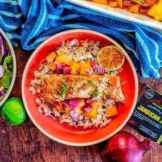 Jerk Salmon with Mango & Pineapple Salsa