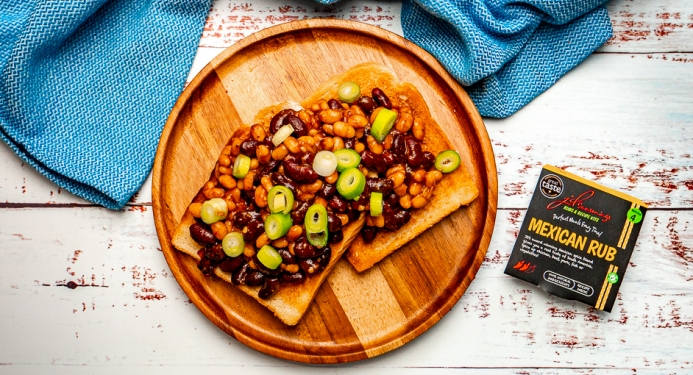 Mexican Beans on Toast Recipe made with JD Seasonings