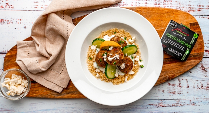 Minted Lamb Meatballs with Garlic Yoghurt & Cous Cous Recipe made with JD Seasonings