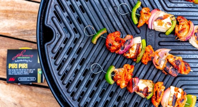 Piri Piri Chicken & Halloumi Skewers Recipe made with JD Seasonings
