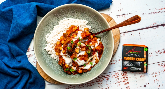 Roasted Aubergine & Chickpea Curry Recipe made with JD Seasonings