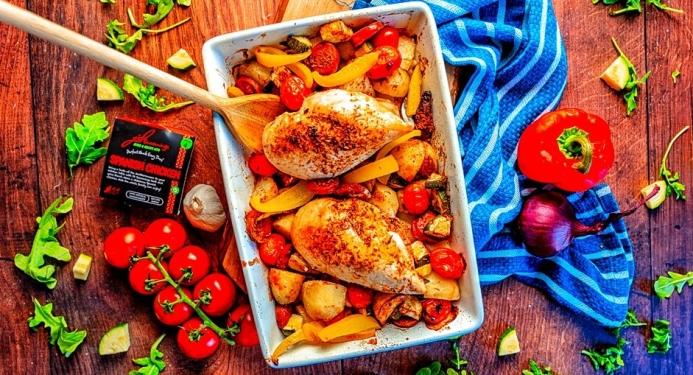 Spanish Chicken & Chorizo Traybake Recipe made with JD Seasonings