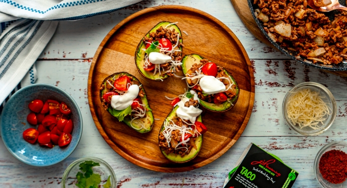 Taco Stuffed Avocados Recipe made with JD Seasonings